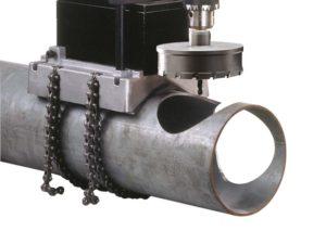 Řetězový svěrák na trubky, pro magnetické vrtačky na kov